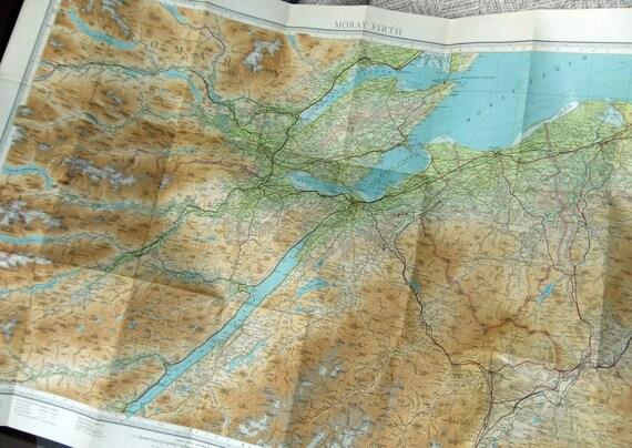 Vintage map of Moray Firth, Scotland - Bartholomews 1959