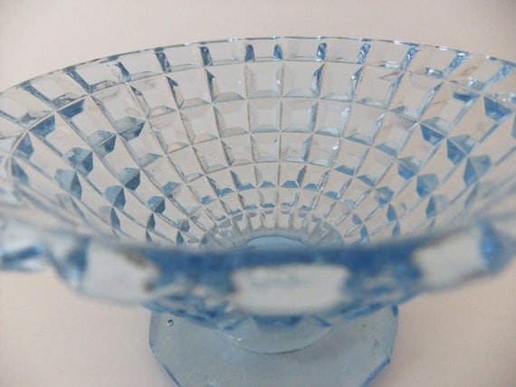Ice Blue Pressed Glass Bowl - Footed Pressed Glass Bowl