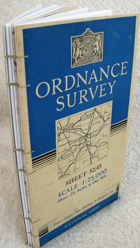 Cambridge Journal -Handmade journal upcycled from1965 map