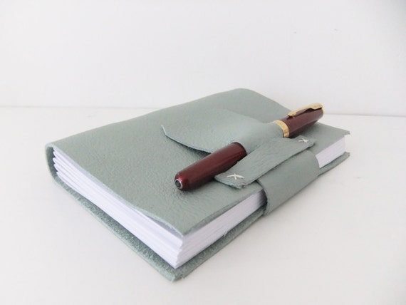 Handmade Leather Journal in upcycled Soft Pale Green Leather