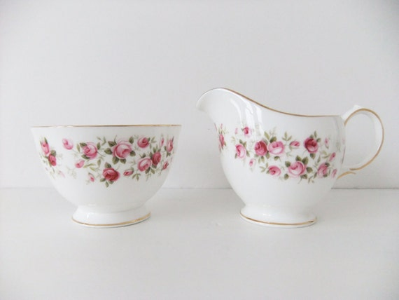 SALE Vintage Bone China Milk Jug and Sugar Bowl - Colclough Cascade Roses - Pitcher and Bowl
