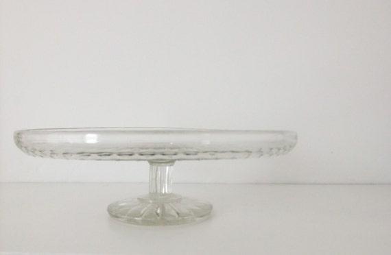 Glass cake stand / cake pedestal - vintage