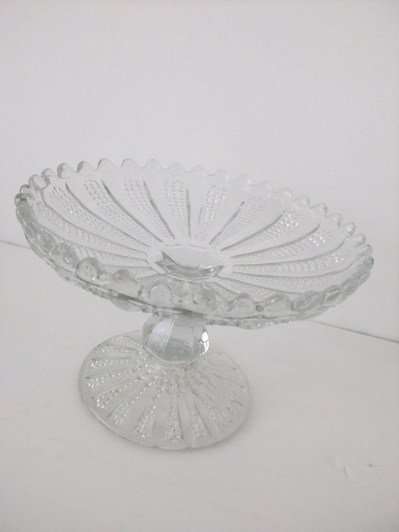 Victorian glass cake stand / Small petit fours stand