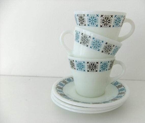 JAJ Chelsea Tea Cups and Saucers - 3 JAJ vintage cups and saucers in Chelsea pattern
