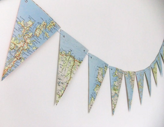 Scottish Map Bunting - upcycled bunting, recycled bunting