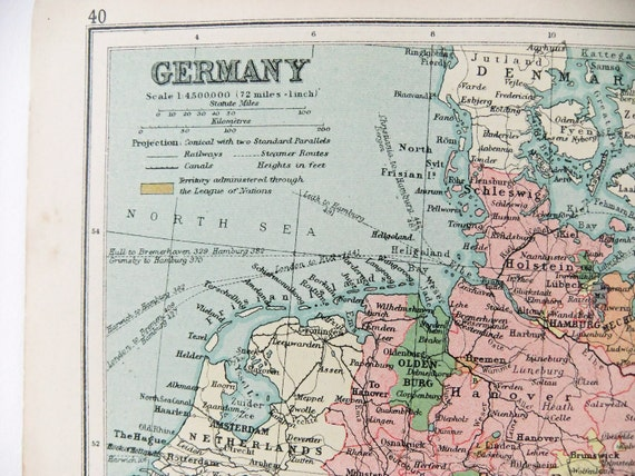 Antique Map of Germany - 1934 map from Phillips Atlas