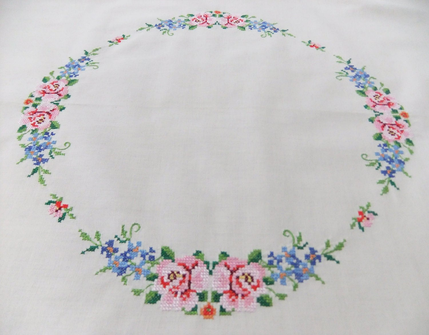Vintage embroidered tablecloth cream with cross stitch