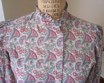 Pretty Paisley long sleeved granny blouse 1970s vintage