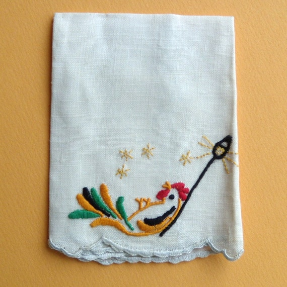 Vintage Rooster Small Cocktail Napkins