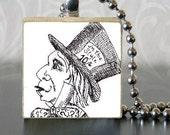 Alice in Wonderland Jewelry Scrabble Tile pendant- Mad Hatter, Tim Burton Inspired, proceeds to Alzheimer's Association