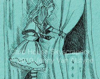 Alice in Wonderland, Alice - Alice's Key artwork-  8 x 10 print, Tim Burton Inspired, proceeds to Alzheimer's Association