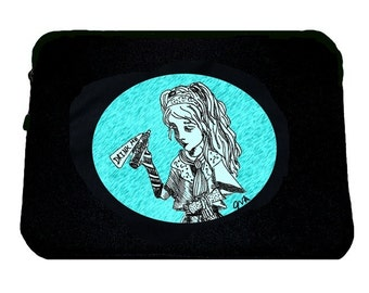 Drink Me Laptop Sleeve/ Case, Alice in Wonderland, Tim Burton Inspired, proceeds to Alzheimer's Association, Available in 13 & 15 inch