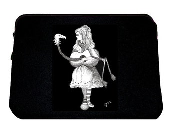 Alice's Flamingo Guitar Laptop Sleeve/ Case, Alice in Wonderland, Tim Burton Inspired, proceeds to Alzheimer's Association