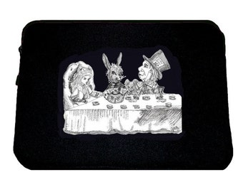 Mad Tea Party Laptop Sleeve/ Case, Alice in Wonderland, Tim Burton Inspired, proceeds to Alzheimer's Association