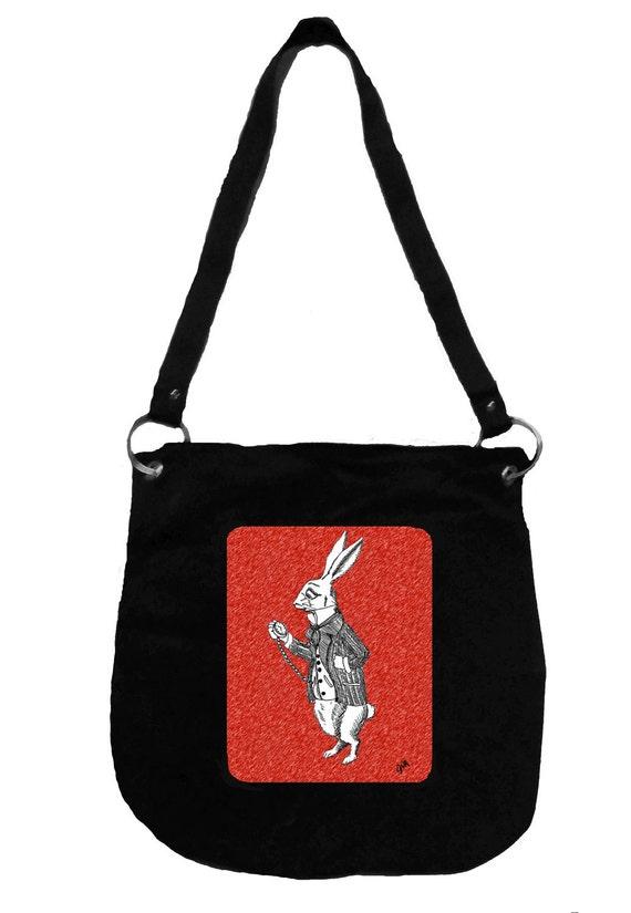 Alice in Wonderland Messenger Bag- White Rabbit, Tim Burton Inspired, proceeds to Alzheimer's Association