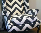 RESERVED FOR KISHANNA - Charcoal Gray and White Chevron Patterned Wingback Chair & Custom Pillow