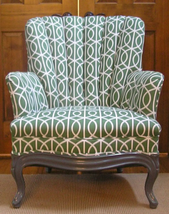 RESERVED - Vintage Channel Back Chair New Upholstery in Green Dwell Studios Bella Porte Fabric