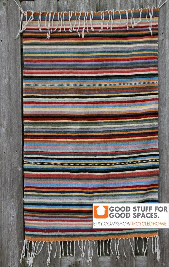 Authentic Handmade Oaxaca Zapotec Woven Wool Rug, Multi-color Stripes