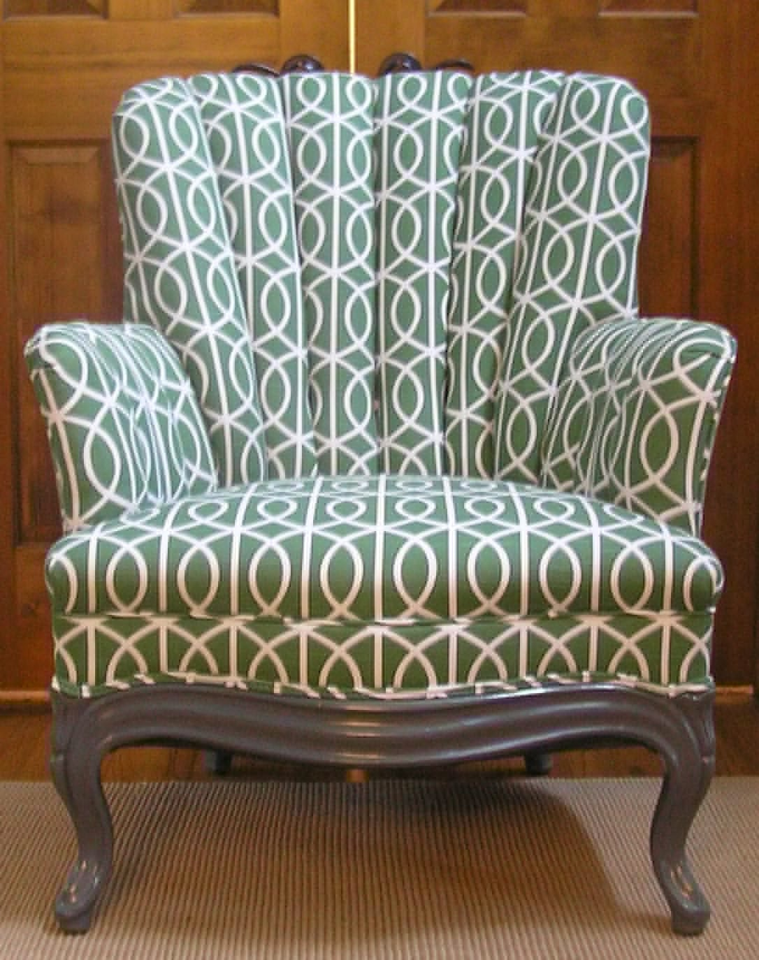 RESERVED Vintage Channel Back Chair New Upholstery in Green