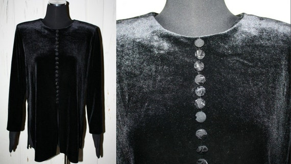 90s J.B.S. LTD. Women's Black Velvet Shirt Size 14P