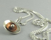 Mixed Metal Sterling Silver and Copper Necklace on Sterling Box Chain- Christmas Gifts - 211-MMSO