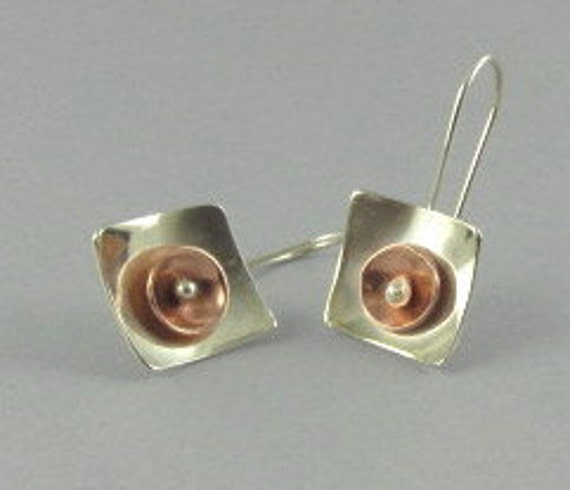 Summer Solstice, Mixed Metal Earrings - Sterling and Copper Hook Earrings - Artisan Jewelry-212-MMS