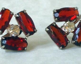 Garnet-Red Glass Earrings in Sterling Setting Vintage Victorian Edwardian Downton Abbey