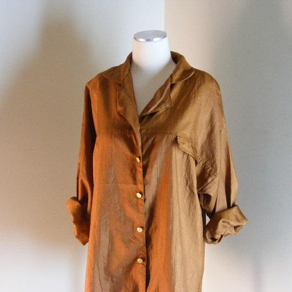 Vintage 80s slouchy shirt bronze button down blouse medium large