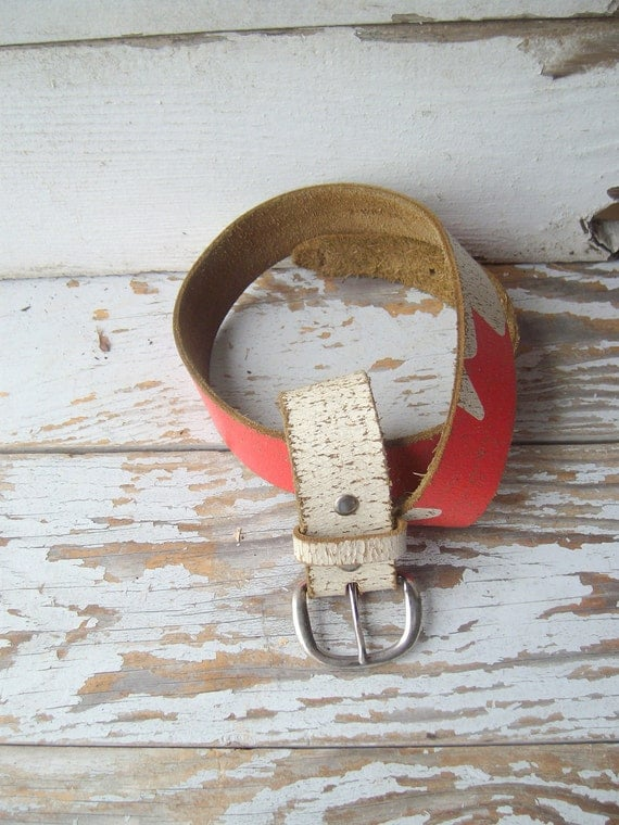 Vintage Leather Belt - Oh Canada FREE SHIPPING