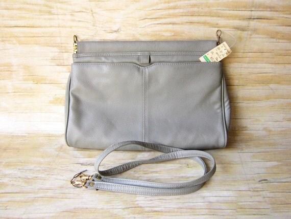 Grey Vintage Clutch Bag NOS  Dead Stock 80's Purse