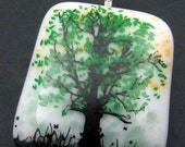 Tree Fused Glass Pendant  and Silver Plated Snake Chain 1001127