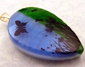 Butterflies on Dichroic Fused Glass Pendant, 110167