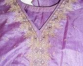 Vintage Indian Salwar Kameez - lavender mirror work Size M/L