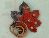 MATISSE Copper Maple Oak Leaf Brooch Pin Enameled Red Black Excellent Vintage