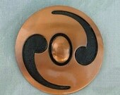 Retro BELL COPPER Striking Modernist Brooch Pin Enamel Vintage Jewelry