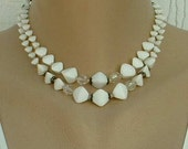 Signed Vintage White Art Deco Style Glass Bead Double Strand Necklace Geometric c1960 Jewelry