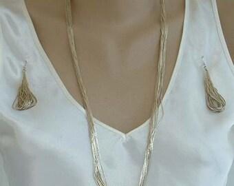 Heishi Parure Liquid Sterling Silver Set Necklace Bracelet Earrings SW Indian Jewelry
