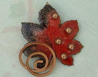 MATISSE Copper Maple Oak Leaf Brooch Pin Enameled Red Black Excellent Vintage