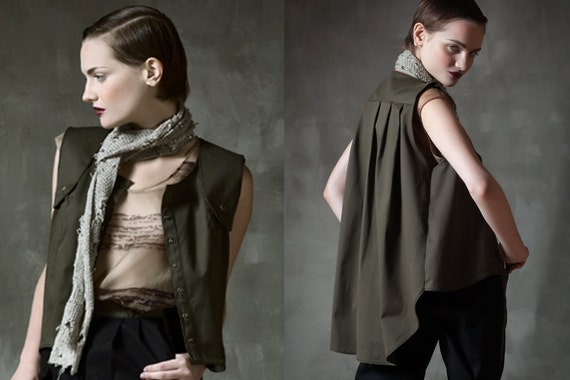 SAMPLE SALE Pleated  Fishtail  Tailored Vest jacket  with Snap Buttons