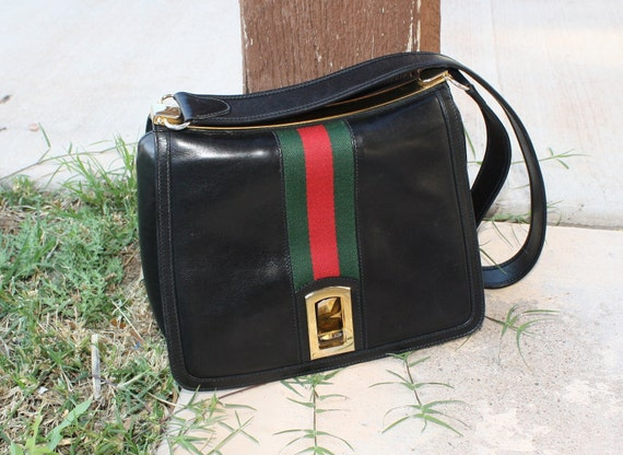 1970s Black Gucci Bag With Signature Green and Red Stripe