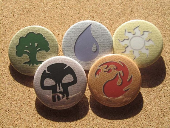 Magic the Gathering Mana symbols pin set of 5