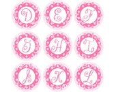 Scallop Dot and Diamond Initials Set 1 Inch Circles Collage Sheet 4 x 6 Inch for Bottlecaps Hairbows Jewelry Magnets More INSTANT DOWNLOAD