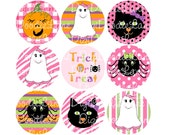 Halloween Bottlecap Images Hallo-Pink-O-Ween 1 Inch Circles for Bottlecaps Bottle Caps Hairbows Jewelry Magnets and More INSTANT DOWNLOAD