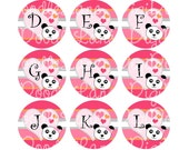 Panda Initials Bottlecap Images 1 Inch Circles Collage Sheet 4 x 6 Inch JPG for Bottlecaps Hairbows Jewelry Magnets INSTANT DOWNLOAD