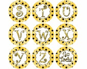 Yellow And Black Dot with Yellow Letters Initial Alphabet Set Bottlecap Images School Colors Football Bottlecaps & Hairbows INSTANT DOWNLOAD