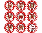Red with White Dot and Footballs Initial Alphabet Set Bottlecap Images Bottle Caps School Spirit for Bottlecaps & Hairbows INSTANT DOWNLOAD