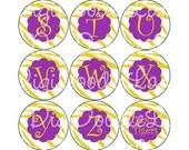 Gold Tiger Stripe-Purple Accents & Gold Letters Alphabet Set Bottlecap Images Bottle Caps Football for Bottlecaps, Hairbows INSTANT DOWNLOAD