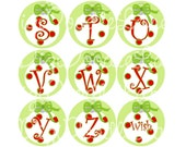 Christmas Initials Bottlecap Images Christmas Letters Bottle Cap Images Christmas Funky Dot Ornament Initials 1 Inch Circle INSTANT DOWNLOAD