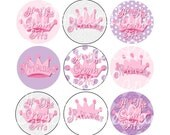 Crowned Princess Bottlecap Images 1 Inch Circles Princess Bottle cap Crown Bottlecaps Hairbows Jewelry Magnets and More INSTANT DOWNLOAD