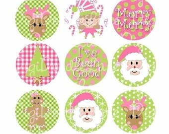 Christmas Bottlecap Images Christmas Bottle Cap Images Christmas Traditions Pink and Green 1 Inch Digital Collage Sheet INSTANT DOWNLOAD